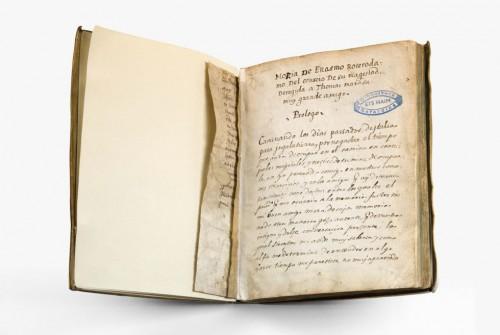 Fotografía del manuscrito hallado en Ámsterdan