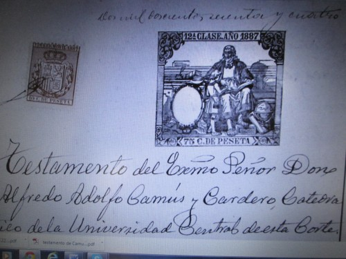 Testamento de Camús, en el Archivo de Protocolos