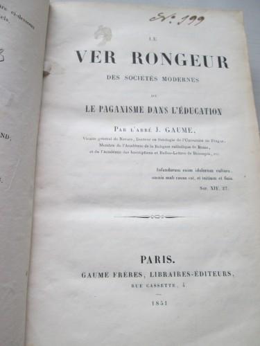 Portada de la polémica obra del Abate Gaume. Colección particular